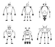 Flat icon set of modern modern robots. Future mechanical robots. Flat icon set of modern modern robots. Future mechanical robots set. Vector illustration Royalty Free Stock Images
