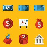 Flat icon set. Money Stock Photo
