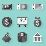 Flat icon set. Money. White style Stock Photos