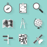 Flat icon set. Navigation. White style royalty free illustration