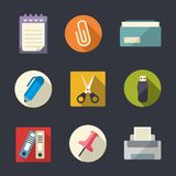 Flat icon set. Office Royalty Free Stock Photography