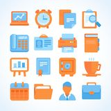 Flat  icon set office and business symbols. Finance and business design elements and supplies Royalty Free Stock Photography