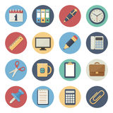 Flat icon set of office supplies Stock Images