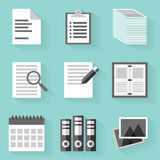 Flat icon set. Paper. White style Royalty Free Stock Images