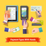 Flat icon set of payment types Stock Images