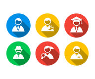 Flat icon set of of people Royalty Free Stock Photography