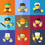 Flat icon set of profession Stock Photos