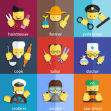 Flat icon set of profession Stock Images