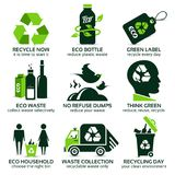 Flat icon set for recycling Stock Image
