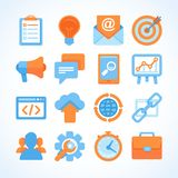 Flat  icon set of SEO symbols. Internet marketing design elements and online business signs Royalty Free Stock Photo