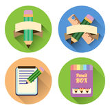 Flat icon set. with shadow Paper notebook and pencils Stock Image