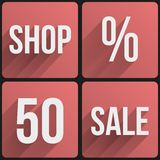Flat icon set shop sale for Web and Application. Stock Photos