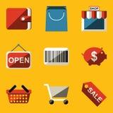 Flat icon set. Shop Royalty Free Stock Photo