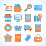 Flat  icon set of shopping symbols. Internet shopping design elements and online payment and purchase Stock Images