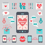 Flat icon set with smart phone for valentine's day and love concept Stock Images