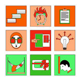 Flat icon set - Studies. Set of detailed icons about learning and deadlines. Illustration in modern and clean flat style. Perfect design for web site or an app Stock Image