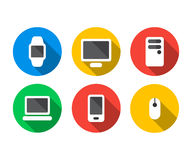 Flat icon set of technology devices Royalty Free Stock Photo