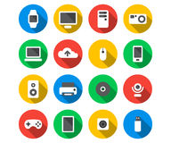 Flat icon set of technology devices Stock Image