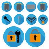 Flat Icon Set Television Screen, Lock, Wireless With Long Shadow For Travel Stock Photos