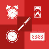 Flat icon set. Time. Clock. Stock Photography