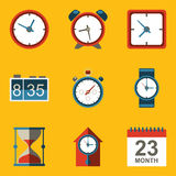 Flat icon set. Time. Clock Stock Photography