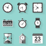 Flat icon set. Time. Clock. White style Stock Photography