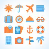 Flat  icon set of travel symbols. Travelling and vacation design elements elements and signs Royalty Free Stock Photos