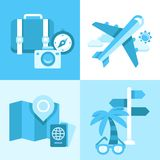 Flat  icon set of travel symbols Stock Image
