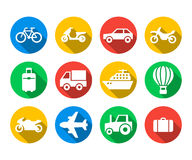Flat icon set of travel and transport Stock Images