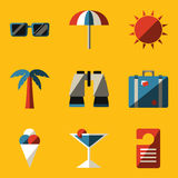 Flat icon set. Travel Stock Photos