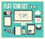 Flat icon set for Web and Mobile Application with. Long shadow| EPS10 Compatibility Required Royalty Free Stock Photography
