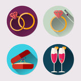 Flat icon set of wedding ring. Valentine`s Day pack Stock Photos