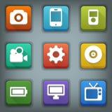Flat icon set. White Symbols. Device Royalty Free Stock Photo