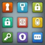 Flat icon set. White Symbols. Lock. Key. Password Stock Photo