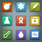 Flat icon set. White Symbols. Medical Stock Photos