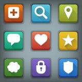 Flat icon set. White Symbols. Web 3 Royalty Free Stock Photography