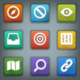 Flat icon set. White Symbols. Web 2 Stock Photo