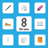 Flat Icon Stationery Set Of Marker, Fastener Page, Date Block And Other Vector Objects. Also Includes Marker, Sticky Stock Photography