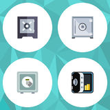 Flat Icon Strongbox Set Of Strongbox, Banking, Safe And Other Vector Objects. Also Includes Safe, Protection, Banking. Flat Icon Strongbox Set Of Strongbox Royalty Free Stock Photography