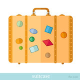 Flat icon suitcase with labels Royalty Free Stock Photos