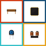 Flat Icon Technology Set Of Bobbin, Transducer, Cpu And Other Vector Objects. Also Includes Spool, Bobbin Stock Images
