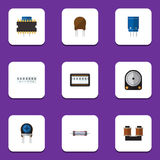 Flat Icon Technology Set Of Microprocessor, Memory, Resistor And Other Vector Objects. Also Includes Resistance, Drive Royalty Free Stock Photography