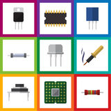 Flat Icon Technology Set Of Receptacle, Resist, Resistance And Other Vector Objects. Also Includes Resistance, Resistor. Flat Icon Technology Set Of Receptacle Royalty Free Stock Images