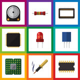 Flat Icon Technology Set Of Recipient, Cpu, Resistance And Other Vector Objects. Also Includes Hard, Transducer, Unit Royalty Free Stock Images