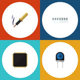 Flat Icon Technology Set Of Repair, Transducer. Memory And Other Vector Objects Royalty Free Stock Photos