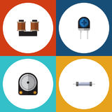 Flat Icon Technology Set Of Transducer, Hdd, Coil Copper And Other Vector Objects. Also Includes Resistance, Drive, Hard Royalty Free Stock Photos