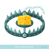 Flat icon trap with cheese. Flat icon trap with piece of cheese isolated on white Royalty Free Stock Images