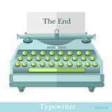 Flat icon typewriter with the end on paper on white Stock Photo