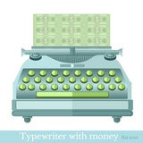 Flat icon typewriter with the make mooney Royalty Free Stock Photo