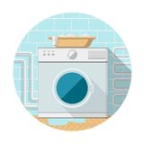 Flat icon of washing machine in bathroom Stock Photography